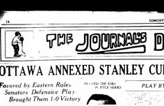On this day in 1923, the Ottawa Senators swept the Edmonton Eskimos for the Stanley Cup.