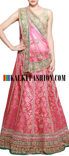 Get this beautiful lehenga here: http://www.kalkifashion.com/pink-brocade-lehenga-adorn-in-kundan-embroidery-only-on-kalki.html Free shipping worldwide.
