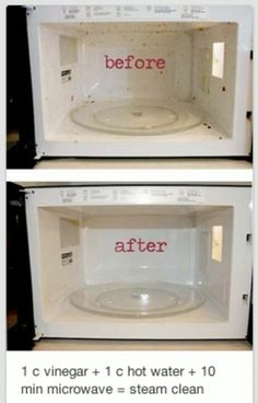 Microwave clean - Tried this... Needed to be wiped down pretty good after, but did not smell like butter anymore.  Just be careful, the vinegar smell is super strong after!