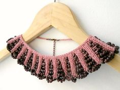 Hand Knit Necklace Dusty Rose Collar with by ArzuMusaKnitting