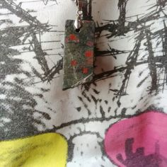 Rare Le Sang du Christ or heliotrope aka bloodstone with dark grey background usually green or dark green from Indonesia