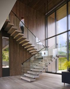 Astounding modern home surrounded by the majestic Rocky Mountains – Modern Steel & Glass Stairs We Love - architecture house