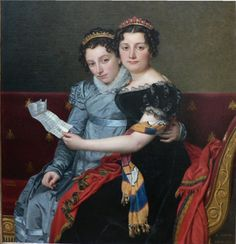 Zenaide and Charlotte Bonaparte painted by Jacques Louis David.  Daughters of Joseph Bonaparte and his wife Julie, nee Clary (sister of Desiree Bernadotte, Napoleon's first love, who became the queen of Sweden).