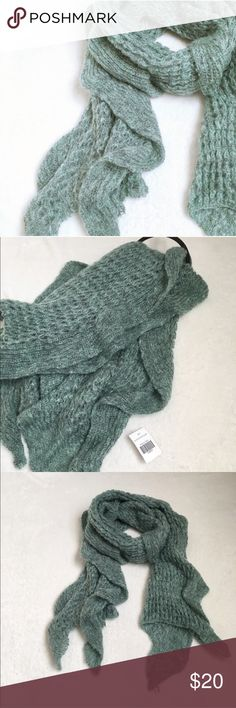 ruffle scarf Gorgeous seafoam green ruffle scarf. Brand new with tags! / scarf, shawl, ruffle, knit, soft, cozy, warm, accessory, winter, snow, cold weather, green, sea, foam/ Boutique Accessories Scarves & Wraps