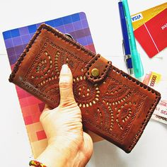 KOBA WOMENS WALLET  leather vintage tooled leather wallet Genuine Leather Ladies carved leather handmade gift by Astaboho on Etsy