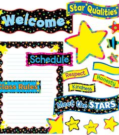 Poppin Patterns: Back To School Stars Bulletin Board Set