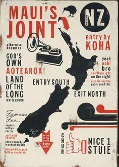 Maui's Joint Kiwiana Print by Jason Kelly New Zealand Image, Signwriting, Maori Art, Kiwiana, Wall Art For Sale, Travel Posters, Art Posters, New Print, Print Store
