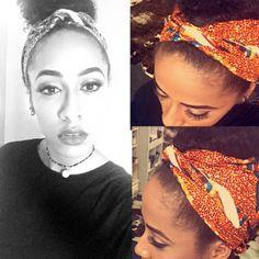 "Here's one I did earlier - using ""turtle"" heritage Dutch wax print. #hairwrap okè, Kenté, Ankara, doek, duku, tukwi, gele, afican prints, African fashion styles, African clothing, Nigerian style, Ghanaian fashion, African women dresses, African accessories, Ankara, Kitenge, dutch wax."