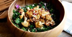 Spice Rubbed Cauliflower, Kale and Pomegranate Salad   Choosing Raw