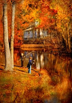 A perfect autumn day today!♡Autumn - People - Gone Fishing Photograph by Mike Savad Fall Pictures, Fall Photos, Beautiful Places, Beautiful Pictures, Magic Garden, Autumn Scenes, Seasons Of The Year, Gone Fishing, Fishing Tackle