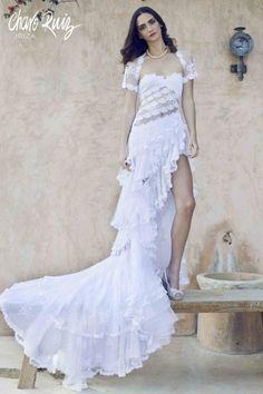Vestido rosas : CHARO RUIZ IBIZA Textiles Y Moda, Charo Ruiz, Look Boho, Ibiza, Formal Dresses, Wedding Dresses, Lace, Needlework, Quilting
