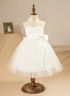 Ball Gown Jewel Knee-length Bow(s) Pleated Back Hole Satin Tulle Sleeveless Flower Girl Dress Flower Girl Dress