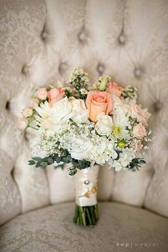 {Romantic Vintage Style Bridal Bouquet Featuring White Jumbo Hydrangea, White Roses, Baby's Breath, White Chrysanthemums, Peach Roses, Peach Mini Carnations, Peach Spray Roses, & Chamomile Daisies·················································}