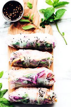 Rainbow Summer Rolls with Chile-Garlic Tofu. #Vegan #GlutenFree