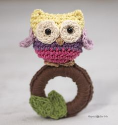 Crochet Owl Ring Baby Toy Hey check out LA Minerals at http://laminerals.com