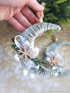 Frosted twine moon with snowflake and greenery ornamentThese little crescent moon decorations are so easy and festive.Christmas Songs In Yoruba Language Christmas Gifts For Sports diy christmas ornaments that bring the joy homelovr – Artofit Handmade Christmas Decorations, Homemade Christmas Gifts, Christmas Crafts For Kids, Xmas Decorations, Holiday Crafts, Christmas Projects, Christmas Tree Toy, Christmas Music, Merry Christmas