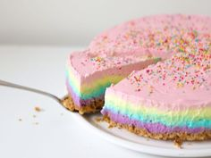 Recipe: Rainbow cheesecake (No bake) Non Bake Desserts, Dessert Recipes, Cake Recept, Easy Baking Recipes, Pastry Cake, Partys, Cake Cookies, No Bake Cake, Sweet Recipes