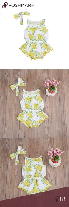LUCY Lemon Baby Jumpsuit BRAND NEW, without tag. One of a kind, super cute jumpsuit!!! Fits 6M-9M. Perfect for Summer! One Pieces Bodysuits