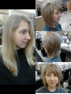 Before and after; Layered Bob.