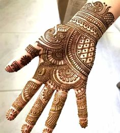 Browse the latest Mehndi Designs Ideas and images for brides online on HappyShappy! We have huge collection of Mehandi Designs for hands and legs, find and save your favorite Mehendi Design images. Henna Hand Designs, Mehndi Designs Finger, Indian Henna Designs, Latest Arabic Mehndi Designs, Full Hand Mehndi Designs, Mehndi Designs 2018, Mehndi Designs For Beginners, Wedding Mehndi Designs, Mehndi Design Images