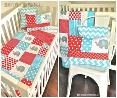 red and aqua elephant crib set by alphabetmonkey.com.au