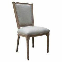 """Lend rustic appeal to your dining room or parlor with this eye-catching side chair, showcasing an oak wood frame and linen upholstery.  Product: ChairConstruction Material: Oak and linenColor: Gray and oatmealFeatures:  Intricate hand-carved detailsAntiqued iron nailhead trim around seatMulti-step hand-finished process Dimensions: 38.5"""" H x 20"""" W x 23"""" DCleaning and Care: Spot clean"""