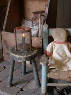Primitive candle holder at Sweet Liberty Homestead
