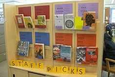 Library House Picks! We can make a picture/spot for each of us and you can write a blurb about your favorite books.