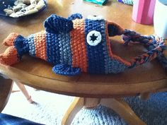 Cute fish Pattern I found on Ravelry. I modified to add earflaps :)