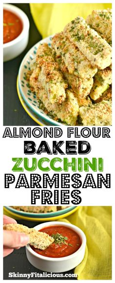 A super easy recipe for Paleo Baked Zucchini Parmesan Fries. Made with almond and coconut flour, this is a flavorful appetizer or side dish everyone will love! Gluten Free + Low Calorie