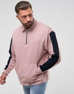 ASOS Oversized Half Zip Collar Sweatshirt With Velour Sleeve Panel - P