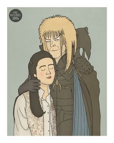 Goblin King and Sarah  Labyrinth  Illustration by CarlBatterbee, £6.99