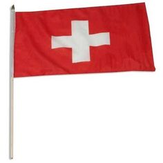 """Switzerland Flag 12 x 18 inch by US Flag Store. $2.20. Brilliant Colors Printed on Polyester Fabric. International 12in x 18in Stick Flag. Sewn Edges. Low Cost Shipping Available!. Mounted to a 24"""" Wooden Stick. Switzerland stick flag 12 x 18 inch, mounted on a 24 inch wooden stick. Flag is made from polyester and printed in bright colors to make an attractive flag. Each flag is individually sewn around the edges.. Save 31%!"""