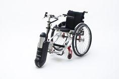 Rehability - Slave, Elektrische aandrijving voor handbewogen rolstoelen. Wheelchair Drive for manual wheelchairs.