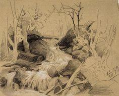 Fanny Churberg (Finnish painter) 1845 - 1892 Suomalainen Maisema (Finnish Landscape), 1879 pencil and white gouache 28 x cm. White Gouache, Landscape Sketch, Paper Drawing, Golden Age, Finland, Pencil, Sketches, Pastel, Sketch Ideas
