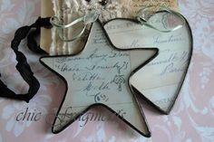 FRENCH SCRIPT. Christmas Ornament Soldered Glass Artwork.