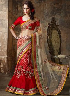 Unique Red Net Saree