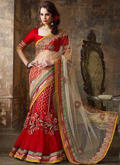 Unique Red Net Saree