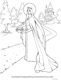 Your place to buy and sell all things handmade Adult Coloring Pages, Coloring Sheets, Saint Elizabeth Of Hungary, St Dymphna, Drawing Sketches, Drawings, All Saints Day, Elizabeth Craft, Catholic Saints