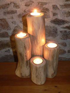(1) Le Pêcheur de Bois, Yann Viau, bois flotté, drfitwood, schwemmholz, cire, wax, bougeoirs, driftwood candle holder, Loire