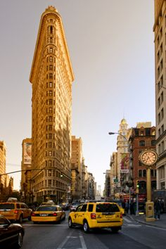 Flatiron Building At Madison Square With Yellow Cab - Sunset.  By Philippe Hugonnard New York City NYC