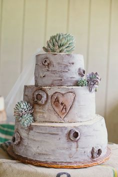 Tree carving initials cake ♥ Photography by closertolovephoto. Read more - www. Birch Wedding Cakes, Wedding Cake With Initials, Succulent Wedding Cakes, Crazy Wedding Cakes, Birch Tree Wedding, Creative Wedding Cakes, Rustic Wedding, Cake Wedding, Woodland Wedding