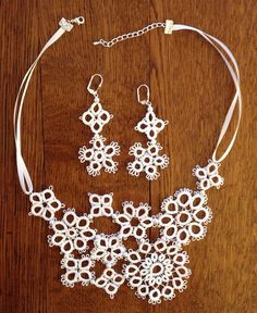 Handmade tatted lace jewelry set - bridal accessories - asymmetrical -  floral lace neck and earring jewelry set by CrafteroniNCheese.