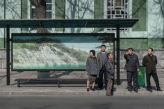 The bus stops of Pyongyang have no advertisements. But even soothing images of nature are North Korean propaganda. Amazing Photography, Street Photography, Nature Photography, Shelter Design, Bus Shelters, Wayfinding Signage, Bus Station, China, Ap Art