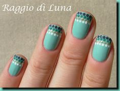 Raggio di Luna Nails: Dots french manicure on light green Love Nails, How To Do Nails, Pretty Nails, My Nails, Nail Ink, Nail Manicure, Dot Nail Art, Nail Polish Art, French Acrylic Nails
