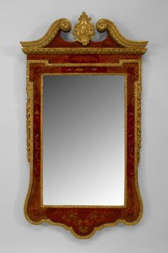 PAIR of English Georgian Century) red lacquered and Chinoiserie decorated wall mirrors with gilt carved open pediment top with a centered cartouche. Old Frames, Antique Frames, Antique Mirrors, Mirror Photo Frames, Wall Mirror, Georgian Interiors, Interior Decorating, Interior Design, Chinoiserie