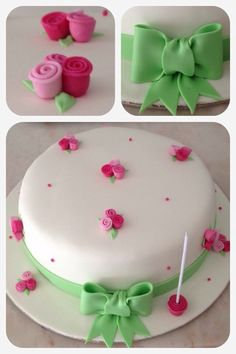 Mothers Day Cake Let Them Eat Cake Fondant Cakes Cake Decorating Cake Pops Birthdays Baby Shower Cakes Rose Cake How To Make Cake Simple Fondant Cake, Fondant Cake Designs, Cake Decorating With Fondant, Cake Decorating Kits, Creative Cake Decorating, Birthday Cake Decorating, Fondant Cakes, Deco Cupcake, Cupcake Cakes