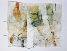 Yellow Gates by Masha Ryskin : intaglio,chine colle,thread 20 x 30 inches. I really like this and it is setting off ideas for me. I like making mixed media and fibre art pieces and combining two things I like doing, printmaking & fibre art, has the muse going overtime. S