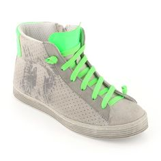 BIKKEMBERGS Leather high trainers with green shoe laces