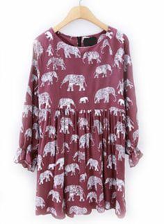 Vestido plisado Elefante mangas largas-Rojo vino EUR€23.72